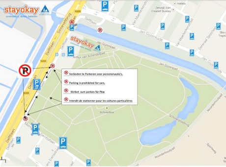 Let op: het eerste stuk Delftlaan is verboden te parkeren voor personenauto's